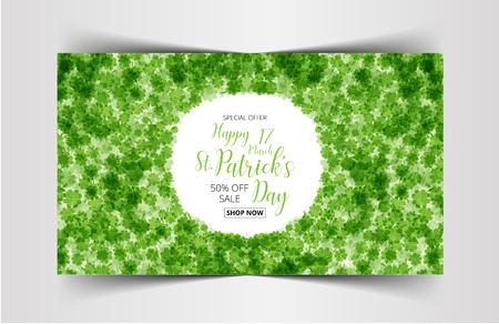 Vektor-Illustration eines St Patrick Tages Verkauf Tag grünen Kleeblättern Hintergrund Illustration