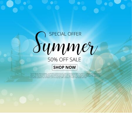Summer sale  poster yach silhouette on tropical beach background