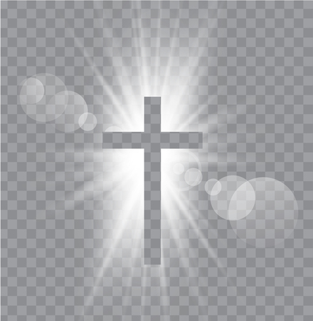 Religioush three  crosses with sun rays  transparent background Vettoriali