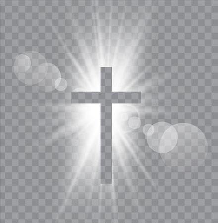 Religioush three  crosses with sun rays  transparent background Illustration