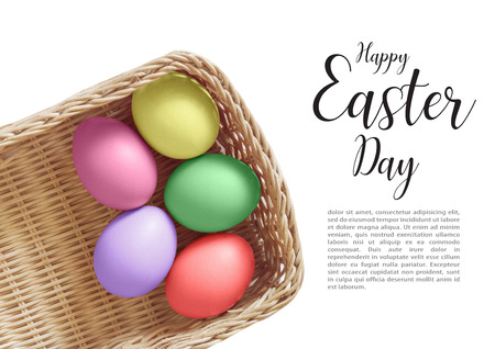 Colorful Easter Eggs on white background with simple text with copy space of your design