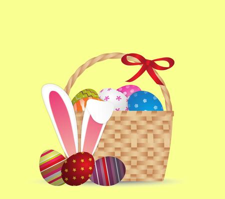 Happy easter day design Basket of easter eggs with rabbit ears,illustration EPS10. Illustration