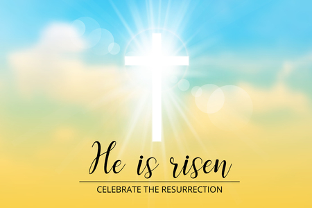 easter christian motive,with text He is risen, vector illustration, eps 10