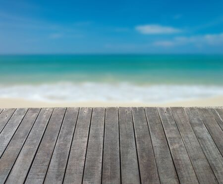 wooden floor and sea landscape background. relaxation or vacation concept