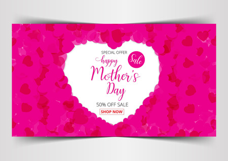 Happy Mothers Day lettering calligraphy on heart background card sale tag vector illustration. Illustration