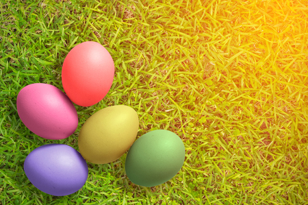 top view of Colorful Easter Eggs on grass background with sun lighting