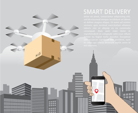 Drone delivery concept vector illustration. Quadcopter carrying a package to customer order from smartphone.