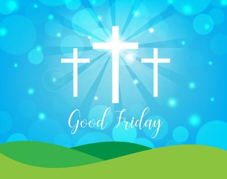 viernes santo: Buen viernes. Fondo con la cruz y el sol blancos rayos en el cielo. Ilustración del vector.