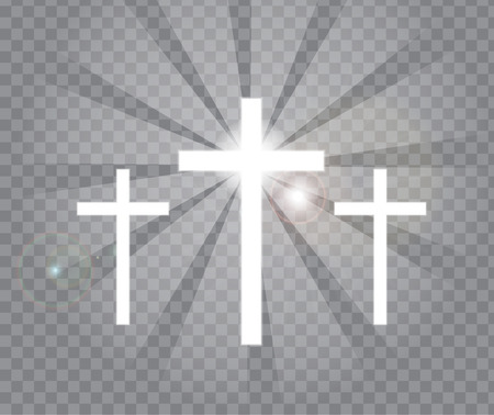 Religious three crosses with sun rays transparent background