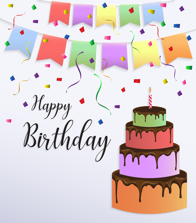 Happy Birthday Card Design With Colorful Big Cake And Bunting