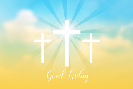 Good Friday. Background with white cross and sun rays in the sky. Vector illustration. Stock Vector - 75305978