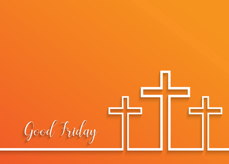Illustration of Cross for Good Friday on orange background.vector EPS10.