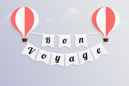 hot air balloon bon voyage calligraphy text on bunting flag flat design, vector illustration EPS10