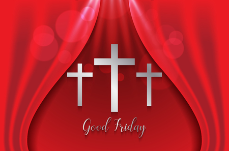 Good Friday with silver cross on red curtain.