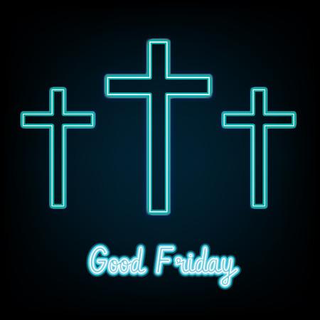 Good Friday. blue neon Three crosses glowing on dark background  Vector illustration.