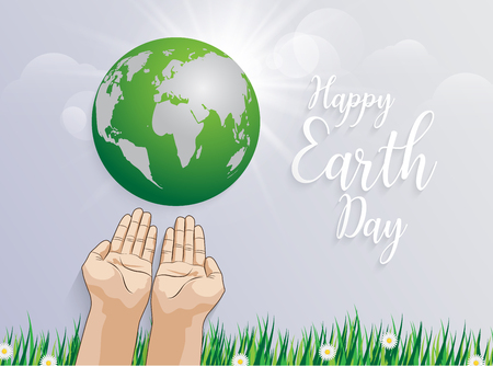 holding planet Earth in hands against  green grass spring background with happy earth day lettering text Vector illustration.