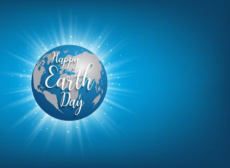 Earth Day banner. Vector lettering illustration on blue globe planet with sun light and blue sky background