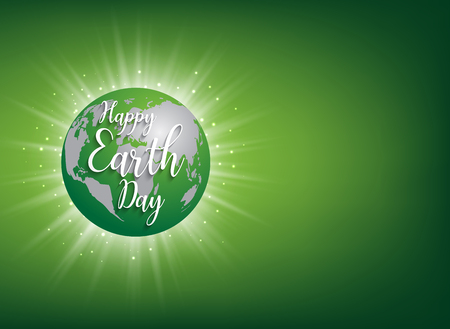 Earth Day banner. Vector lettering illustration on green globe planet with sun light Illustration