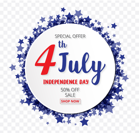 American Independence Day of 4th July with round banner star confetti  transparent pattern background  illustration EPS10
