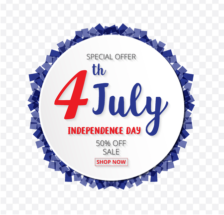 American Independence Day of 4th July with round banner confetti  transparent pattern background  illustration EPS10