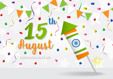 Happy Indian Independence Day celebration firecracker on flag color greeting background