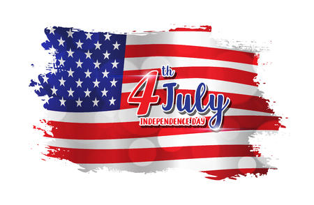 4th of July text design on abstract American Flag style background for Independence Day celebration Illustration