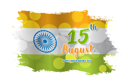 Happy Indian Independence Day celebration on grunge flag color greeting background