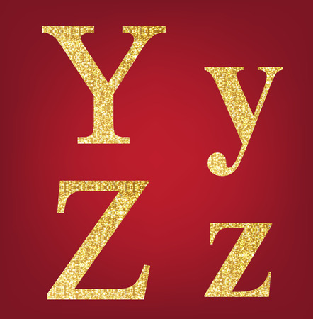 Y Z alphabet set  made up of gold spangles on the red background