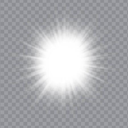 흰색 빛나는 빛 버스트 폭발 투명 하 게. 벡터 일러스트 레이 션 EPS10