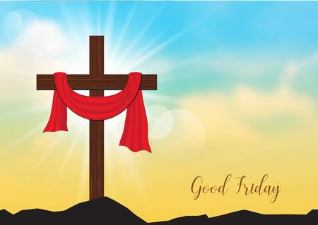Goede Vrijdag. Achtergrond met houten kruis en zonnestralen in de lucht, Vectorillustratie EPS10. Stock Illustratie