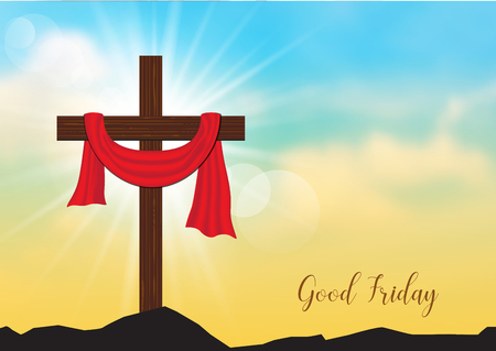 Good Friday. Background with wooden cross and sun rays in the sky,Vector illustration EPS10. Çizim