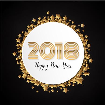 Goldfeier 2018 Neujahr Etikettenhintergrund. Feierblase in Goldstern Konfetti. Vektor-Illustration. Illustration