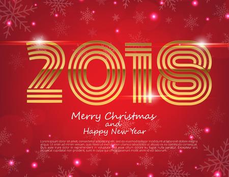 Frohes Neues Jahr 2018 Text Design. Vector Gruß Illustration mit goldenen Zahlen und Schneeflocke Hintergrund