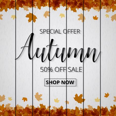 Herbst Verkauf Poster oder Banner für den Einkauf mit Ahornblatt und Rabatt Text für herbstlichen Design für Promo-Poster, Broschüre oder Web-Banner auf Vektor weißen Holzzaun Hintergrund