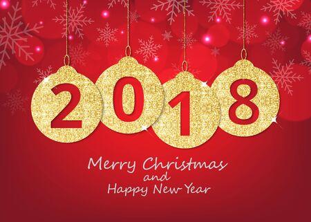 Frohe Weihnachten und glückliches neues Jahr hängen 2018 Nummer Glitzer Bälle auf glänzend roten Hintergrund.
