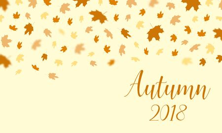 Herbst fallen Blätter Muster mit Text Herbst 2018 Hintergrund. Vector herbstlichen Laub Fall von Ahorn, für Herbst-Design