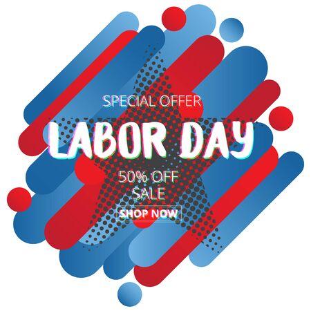 Arbeitstag Verkauf Förderung Werbebanner mit Farbe der amerikanischen Flagge. Amerikanische Arbeitstags-Tapete.