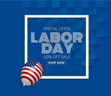 Arbeitstag Verkauf Promotion Werbung Banner mit c American Flag Ballon.American Arbeitstag Wallpaper Effekt. Illustration