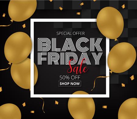 Black Friday-Verkaufsförderungsplakat mit Goldballonen auf schwarzem Hintergrund. Vektorabbildung EPS10. Illustration