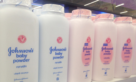 BANGKOK,THAILAND- August 28th, 2017 : bottle of Johnson & Johnson Baby powder. Johnson & Johnson is an American company founded in 1866