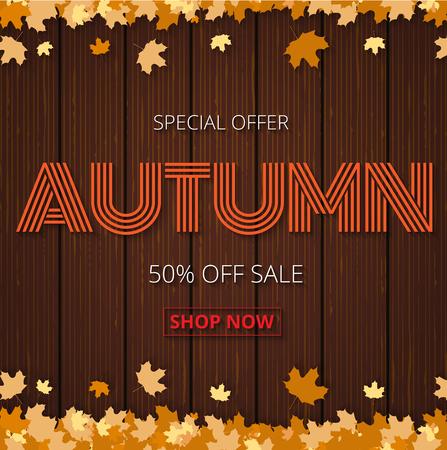 Herbst Verkauf Poster oder Banner für den Einkauf mit Ahornblatt und Rabatt Text für herbstlichen Design für Promo-Poster, Broschüre oder Web-Banner auf Vektor braun Holzzaun Hintergrund
