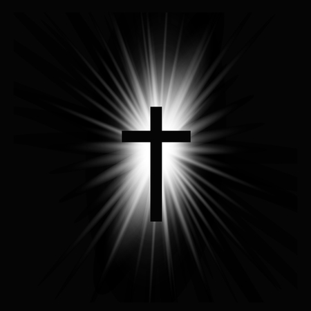 Religioush cross with sun rays  shine on the dark  background illustration