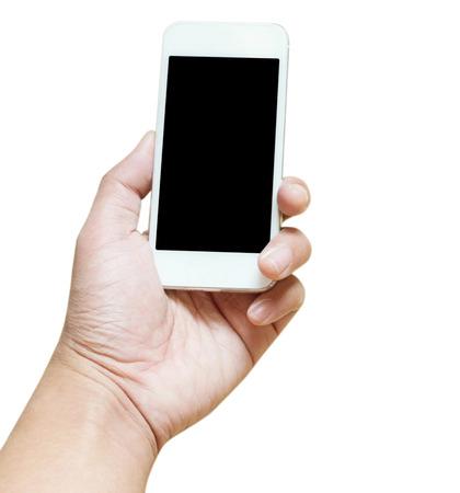 Die Mannhand, die den weißen Smartphone lokalisiert auf dem weißen Hintergrundbeschneidungspfad hält, schließen ein