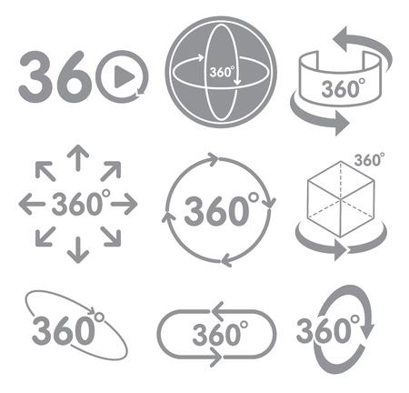 360 Grad-Ansichtzeichenikone auf dem weißen Technologiekonzept Technologie der virtuellen Realität.
