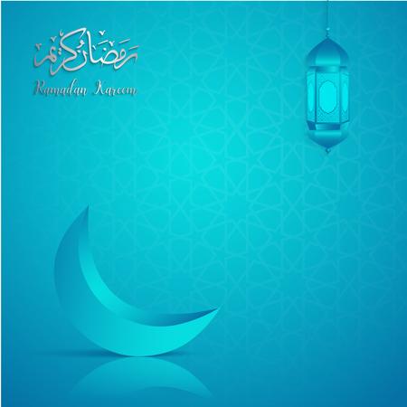 Ramadan Kareem Grußkartenvorlage islamischen Vektor blau abstrakten Hintergrund Illustration