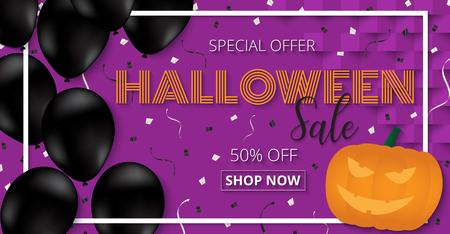Glückliche Halloween-Fahnenschablone mit Ballonen und pumpkinhead design.banner Parteieinladung. Vektorillustration Illustration