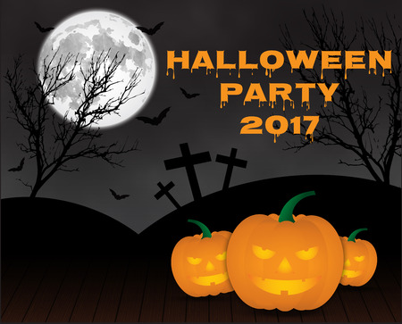 Halloween-Kürbise auf blauem Mondhintergrund, illustration.EPS 10