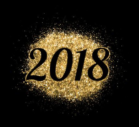 2018 von Gold glitter auf schwarzem Hintergrund, Symbol des neuen Jahres für Ihren Grußkartenentwurf.