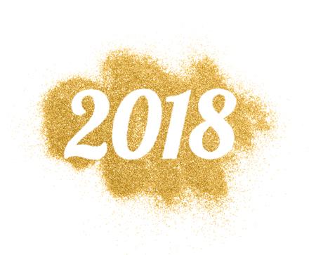 2018 von Gold Glitter auf weißem Hintergrund, Symbol des neuen Jahres für Ihre Grußkarte Design.