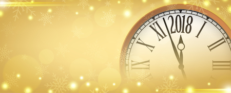 Vector 2018 Happy New Year with retro clock on gold snowflakes background, for your copy space.